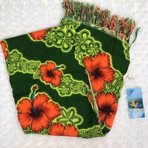 Hawaiian Sarong Cover Up Green Floral Hibiscus